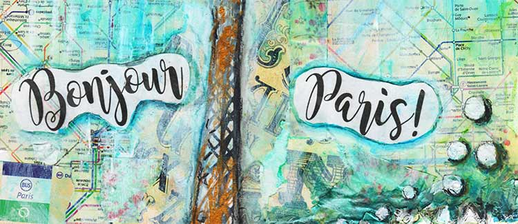 Bonjour Paris mixed media tutorial