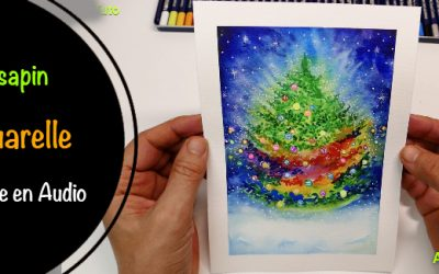 Aquarelle, Sapin de Noël + Audio