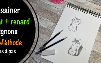 Comment dessiner un chat mignon et un renard